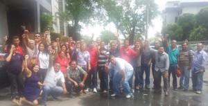 Dirigentes do Sindicato dos Metalúrgicos do Amazonas (Sindmetal) comemoram a vitória. Foto: Ricardo Ferreira